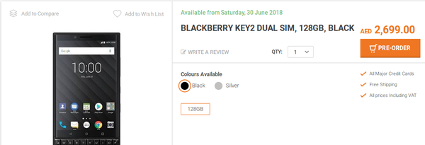 BlackBerry Key2 Now available For Pre-order in UAE