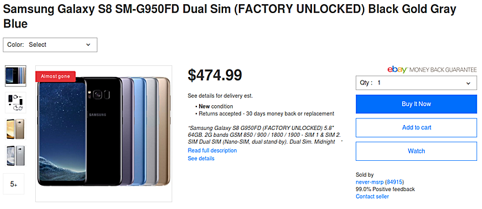 Deal: Dual SIM Samsung Galaxy S8 drops to $475 [updated