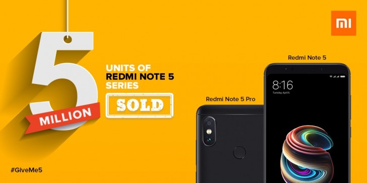Xiaomi Redmi Note 5 and Redmi Note 5 Pro sales reach 5 million