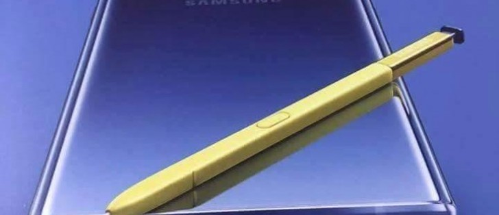 Samsung Galaxy Note9 promotional poster leaks showing a blue phone with a yellow S Pen