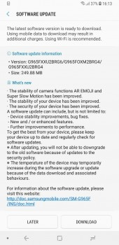 Samsung Galaxy S9+ (Exynos) receiving the update
