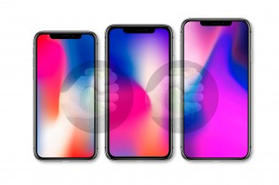 iPhone X (left), iPhone  SE Plus (center) and iPhone 11 Plus (right)
