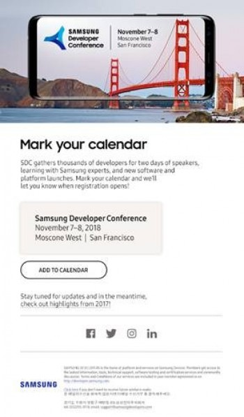 Samsung Developer Conference Will Be Held On November 7 8 In Sf