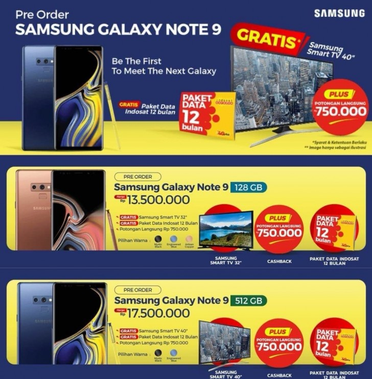 Samsung Galaxy Note9 pricing appears in Indonesia