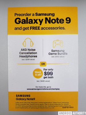 Sprint's pre-order promo for the Galaxy Note9