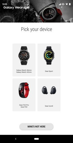 Samsung Galaxy Wearable app with support for the Galaxy Watch