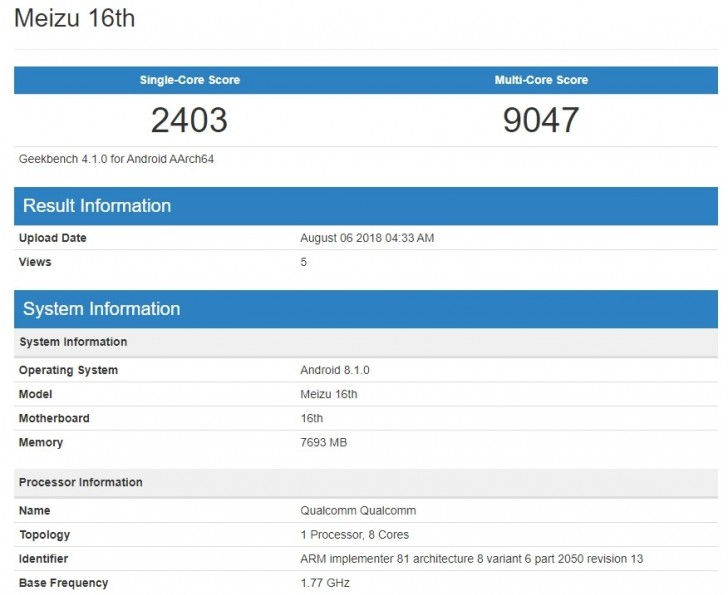 Meizu 16 crushes Geekbench with Snapdragon 845 and 8GB RAM