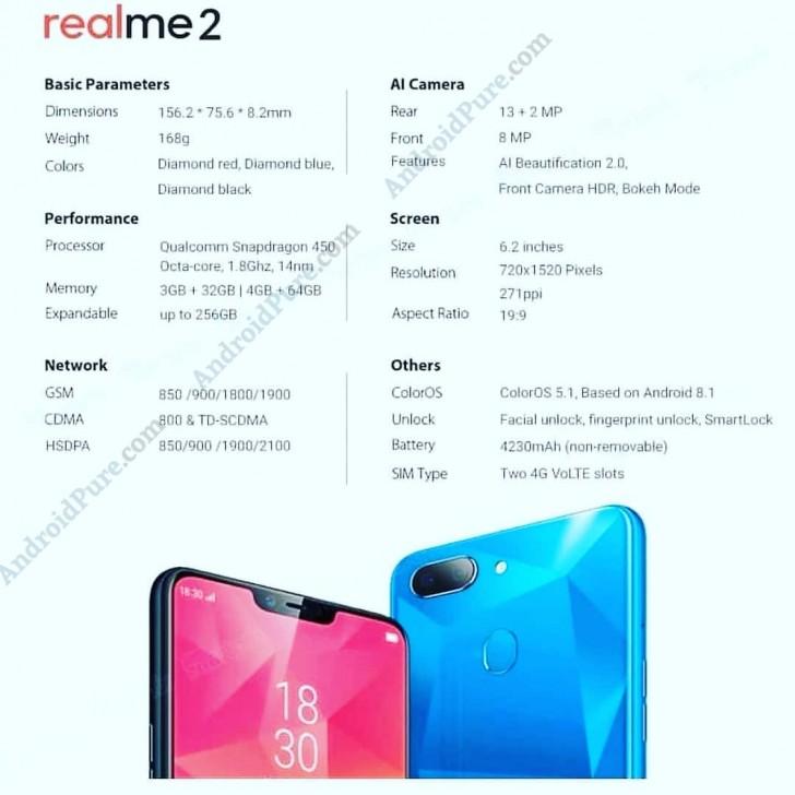 Realme 2 Full Specs Sheet Leaks Gsmarena Com News