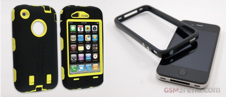 ef89ed2fe5 Otterbox Defender case for iPhone 3GS next to the Official Apple Bumper Case  for the iPhone 4