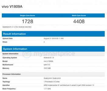 vivo X23 (V1809A) details courtesy of Geekbench