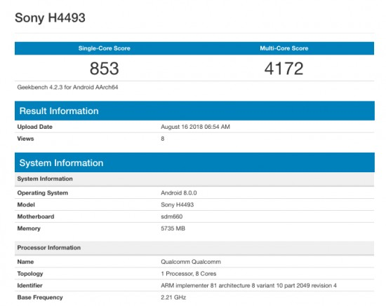 Sony Xperia XA3 benchmarked with Snapdragon 660 chipset