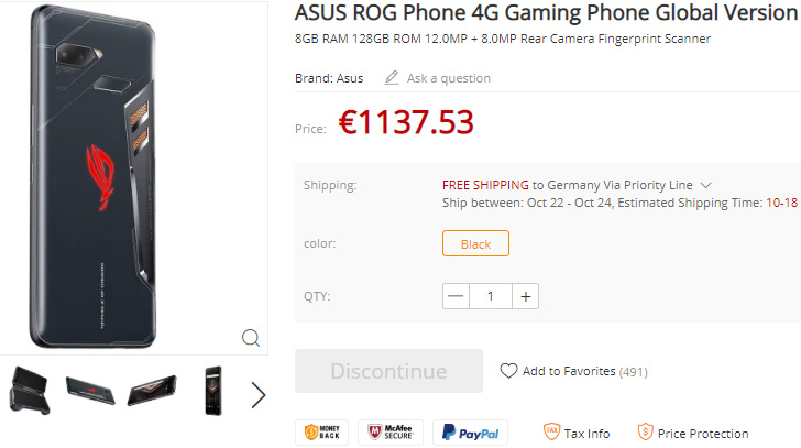 Asus ROG Phone pops up on GearBest with a late-October shipping date