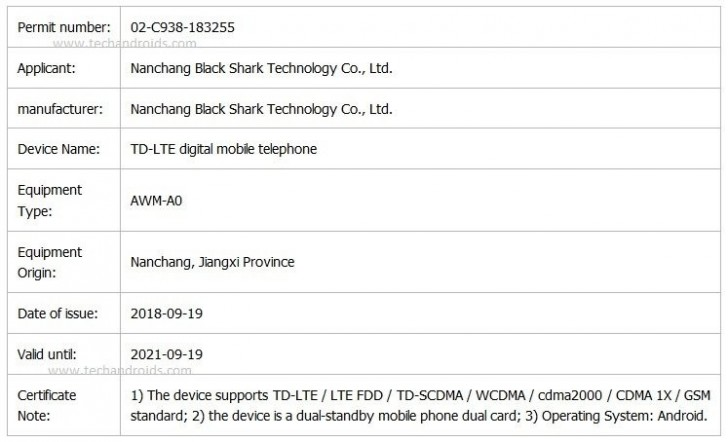 gsmarena 001 - Black Shark 2 gaming phone is on its way, TENAA listing suggests