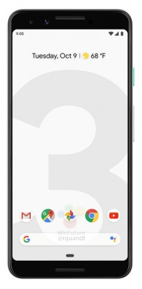 gsmarena 008 - Black and white renders leak of the Google Pixel 3 and 3 XL