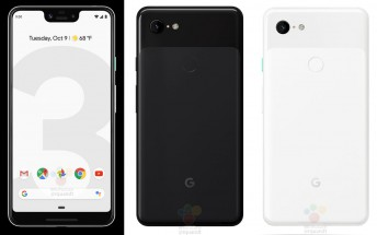 Black and white renders leak of the Google Pixel 3 and 3 XL