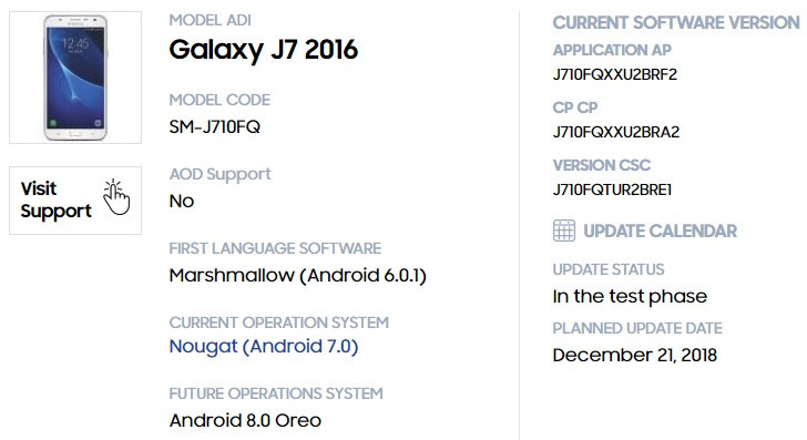 Samsung Galaxy J7 (2016) is first in its family to get Oreo