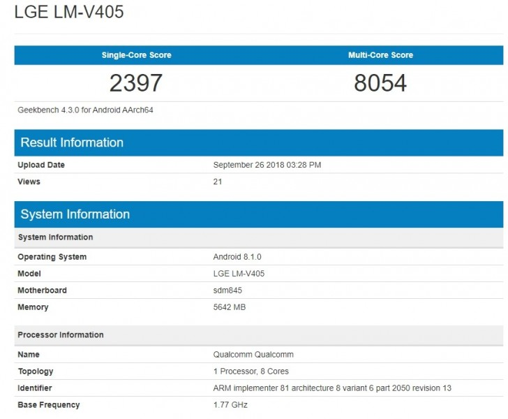 gsmarena 001 - Geekbench listing shows the LG V40 ThinQ with Android 8.1 Oreo