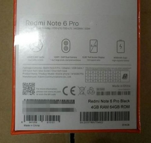 Xiaomi Redmi Note 6 Pro leaked box confirms some specs