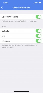 Voice notifications on iOS