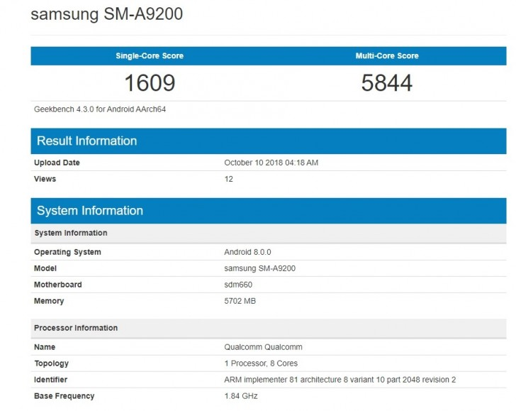Samsung Galaxy A9 Quad-Camera Mid-Range Phone Image And Benchmarks Leak