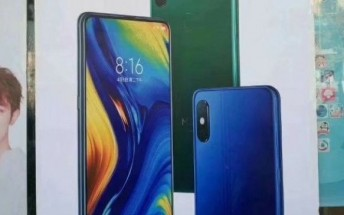 Mi Mix 3 poster shows blue and green colors, confirms rear fingerprint reader