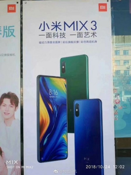 Mi Mix 3 poster shows blue and green colors, confirms rear