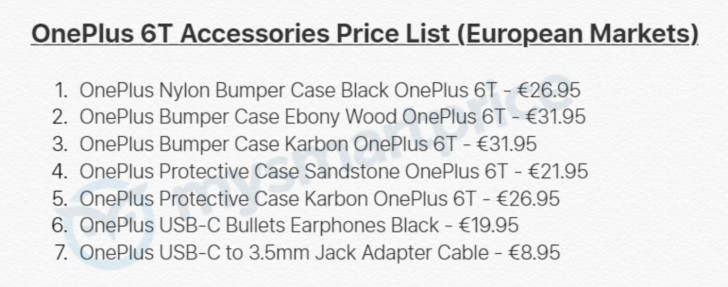 gsmarena 002 - Prices of OnePlus 6T accessories leak