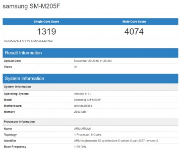 Samsung Galaxy M2 (SM-M205F) at Geekbench