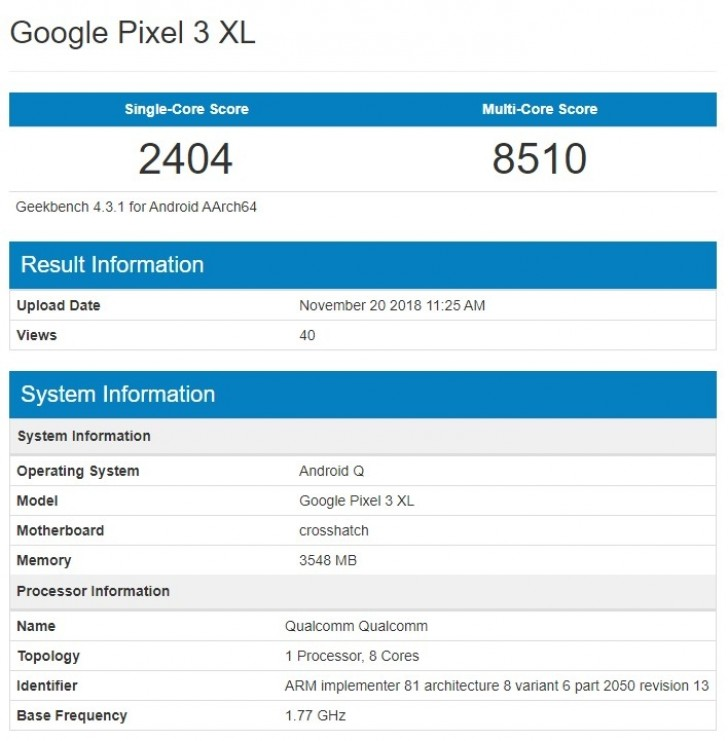 Google Pixel 3 XL with Android Q pops up on Geekbench - GSMArena com