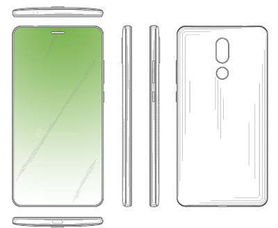 A Huawei patent showing a hole cut out for the earpiece