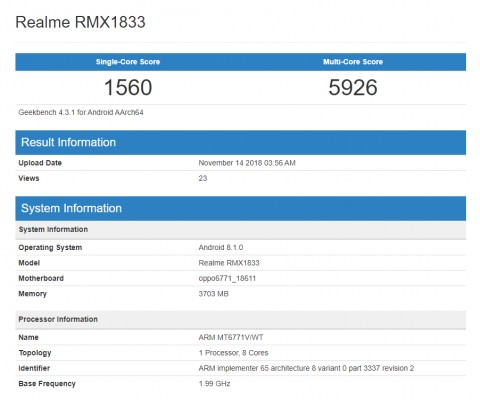 Unknown Realme phone with Helio P60 visits Geekbench - GSMArena com news