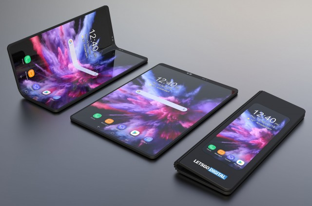 A render of the foldable Samsung phone (based on patent drawings and other info)