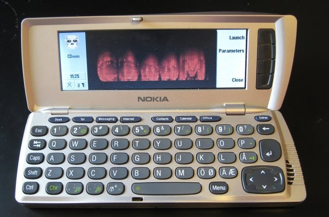 "Cdoom running on the Nokia 9210 Communicator (<a href=""https://doom.fandom.com/wiki/File:Nokia9210cdoom.jpg"" target=""_blank"" rel=""noopener noreferrer"">image credit</a>)"