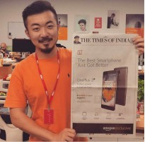 First full page ad held up by co-founder Carl Pei