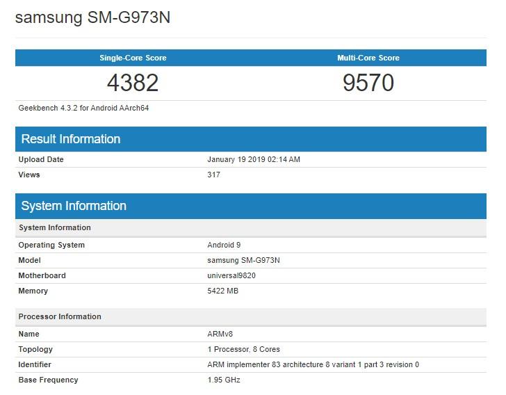 Samsung Galaxy S10登陸GeekBench,新款Exynos處理器效能仍不及iPhone XS