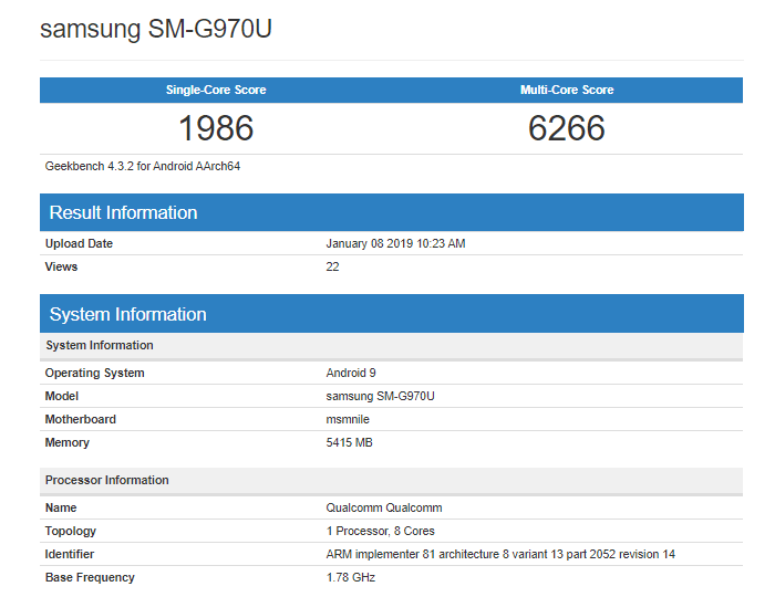Samsung Galaxy S10 Lite shows very weak results in Geekbench