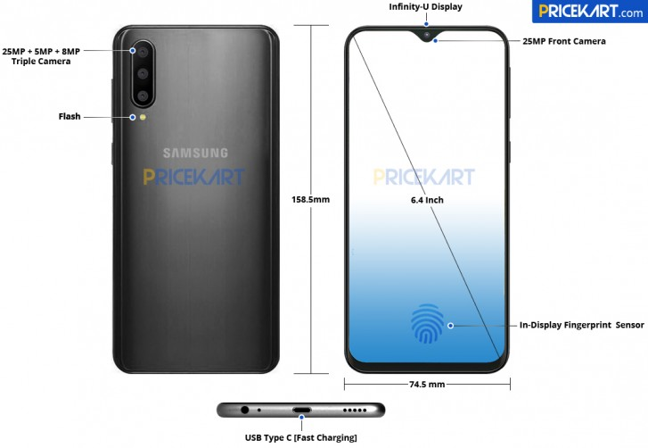 Samsung Galaxy A50 leaked in schematics and renders