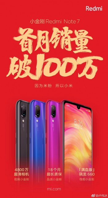 Xiaomi Redmi Note 7 sold in 1 million units