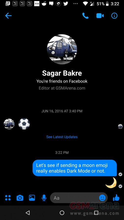 You can enable Facebook Messenger's Dark Mode with a moon