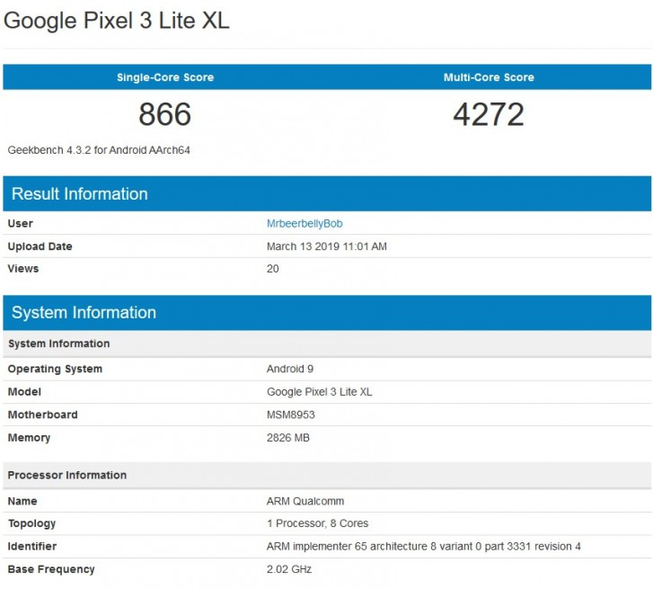 Google Pixel 3 Lite XL appears on GeekBench again, this time