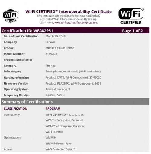 Motorola XT1970-1 listing at WFA