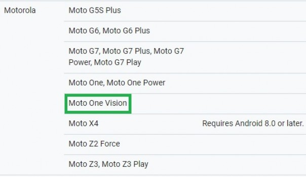 Motorola One Vision listed on Google's ARCore website, may launch soon