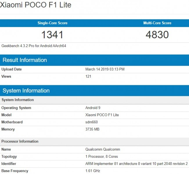 Poco F1 Lite key specs revealed through Geekbench [Update: Not a