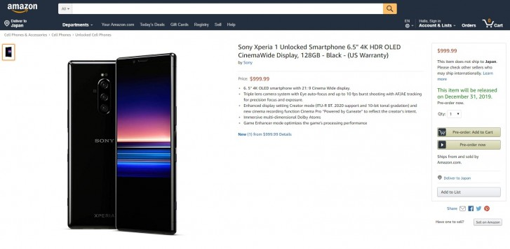 Sony Xperia 1 is on Amazon for $1,000, but it's likely a