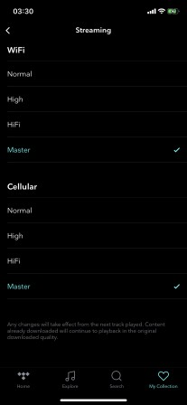 Master quality settings under iOS