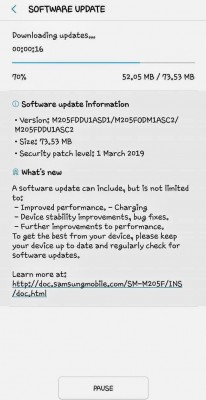 Update for the Samsung Galaxy M20
