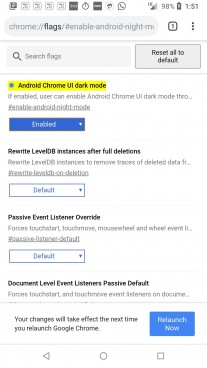Enabling Dark Mode option in Google Chrome