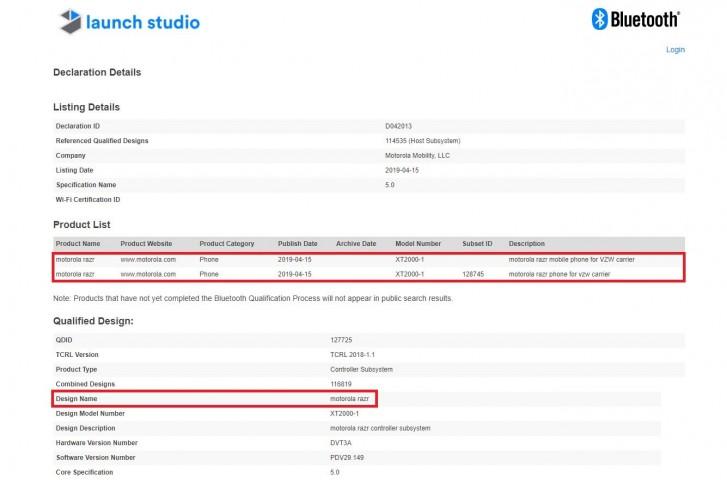Moto Razr Foldable Phone, Motorola One Vision Receive Bluetooth Certification