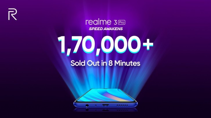 First Realme 3 Pro flash sale moved 170,000 units in 8