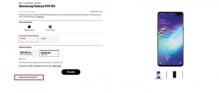 Samsung Galaxy S10 5G pre-order page